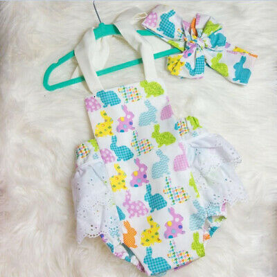 AU Stock Newborn Infant Baby Girl Easter Romper Bodysuit Sunsuit Clothes Outfits