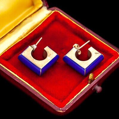 Antique Vintage Deco Mid Century Sterling 925 Silver TAXCO Lapis Lazuli Earrings