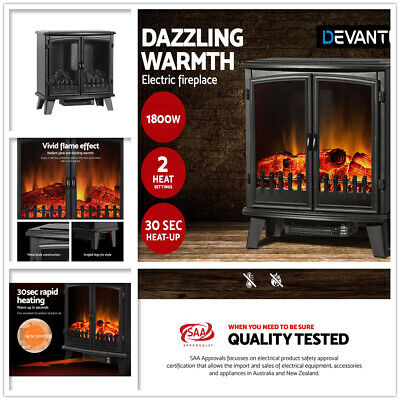 1800W Electric Fireplace Heater Portable Wood Fire Log Flame Effect Double Door