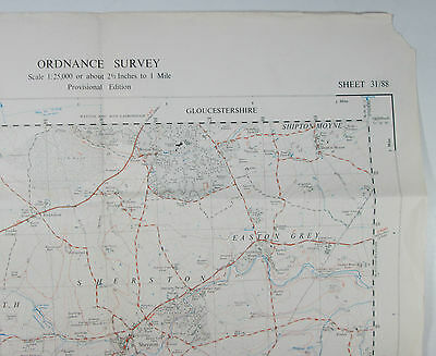 1951 old OS Ordnance Survey 1:25000 First Series Prov map ST 88 Sherston 31/88