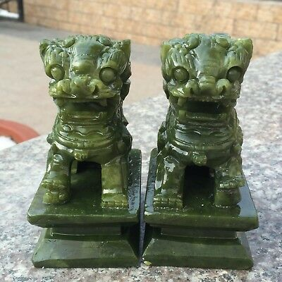 A pair China Natural DuShan Jade hand carved lion pair animal Sculpture