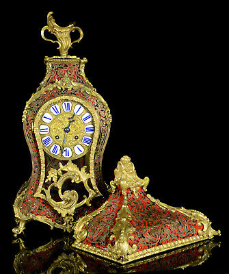 Antique 19 c French 8day red shell ormolu brass inlaid Boulle clock with bracket