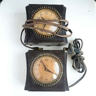 Two Vintage Telechron Electric Selector Alarm Clock Model: 8H55 AsIs For Parts