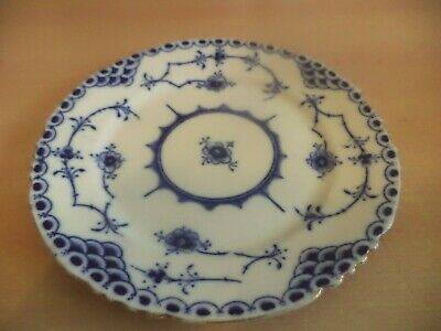 Old Antique Crescent Bone China Blue & White Porcelain Plate