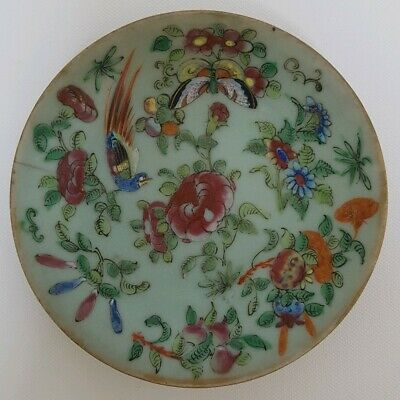 Good Antique Chinese Porcelain Famille Rose Celadon Plate/ Dish