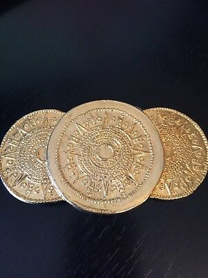 Mayan Aztec Coin or Sun Looking Belt Buckle Gold Tone Dimensional Detailed