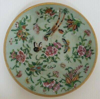 Beautiful Antique Chinese Porcelain Famille Rose Celadon Plate