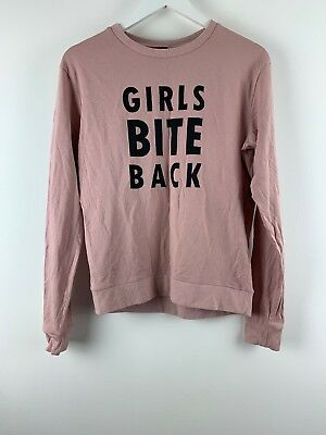 Womens Ladies Jumper Shirt Top  Girls Bite Back Print Pale Pink H&M Sz S Uk *D