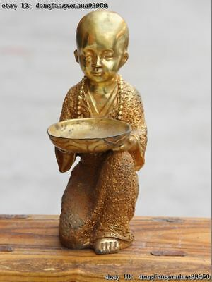 Chinese Buddhism Temple Copper Bronze Gild Buddhist Monk plate Shaveling Statue