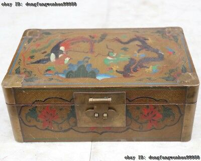 China Wood Handwork Line Drawing Painting Dragon Phoenix jewellery jewelry Boxes