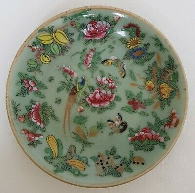 Fine Antique Chinese Porcelain Famille Rose Celadon Plate