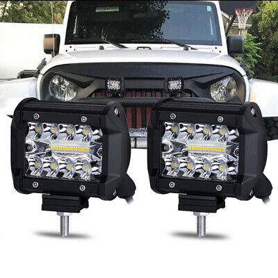 2pcs 4inch 20000 LM CREE LED Work Light Bars SUV Offroad Spotlight Driving Lamp