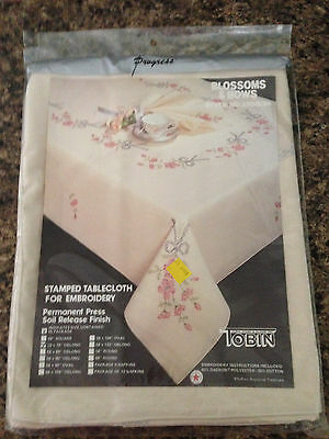 """Tobin Stamped  Embroidery Tablecloth Blossoms and Bows  50"""" x 70""""  #2700/29"""