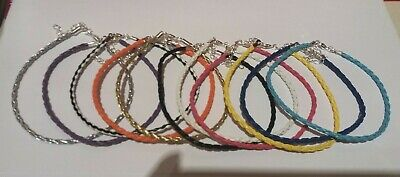 """Braided Leather Anklet Ankle Bracelet - 13 Colours 9"""" + Ext - Buy 4 Get 1 Free"""