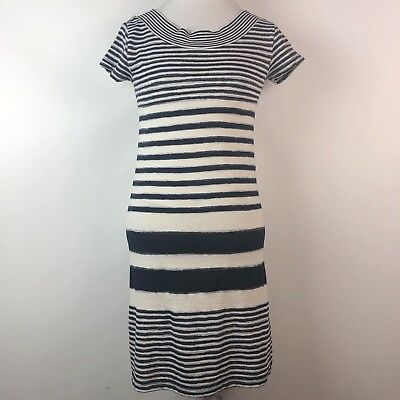 c6e23731ba21 Anthropologie Maeve Haven Striped Short Sleeve Lined Shift Dress Blue White  XS