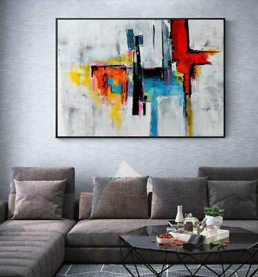 """HH239 100% HAND-PAINTED OIL PAINTING Geometry abstract color block Unframed 36"""""""