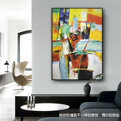 """HH240 100% HAND-PAINTED OIL PAINTING Thick abstract color block Unframed 36"""""""