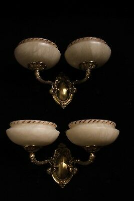 Carved alabaster shades wall lights sconces solid double arms bronze
