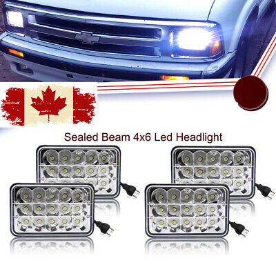 "4pcs 4x6"" Led Headlights Sealed Beam Lights for Kenworth Chevrolet Freightliner"