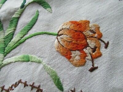Vintage Heavily Hand Embroidered Tablecloth-BEAUTIFUL SPRING TULIPS