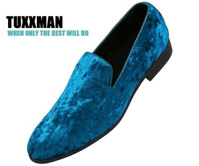 b8760c0a43b0b MEN'S SLIP ON Loafers Turquoise Velvet with Silver Skull - $17.99 ...
