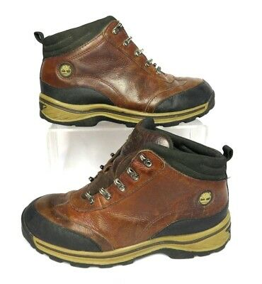 b3c6959c Timberland Boys Girls Leather Hiking Boots sz 4.5 Brown Black Lace Up  Walking