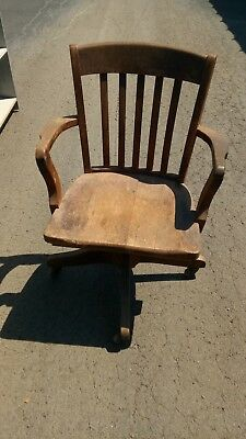 Antique Office/ Lawyer/Banker/Teacher Chair Oak-Swivel