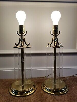 Princess House Hand blown Heritage Crystal and Brass Set of Two Table Lamps VGC
