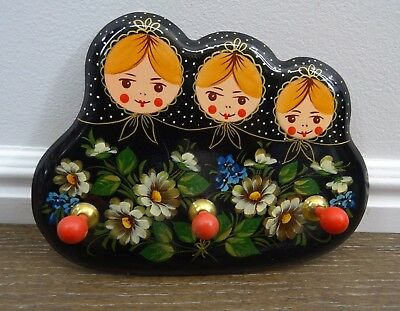 Vintage Russian Hand Painted Dolls Black Lacquer Wall Hanging