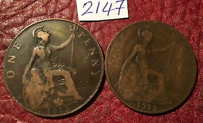 2 Regional Mint George V Pennies 1912H, 1919H From Heaton Mint - Job Lot 2147