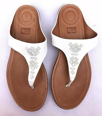 9f01dd89c FitFlop Women s Banda White Leather Toe-Thong Sandals Crystal Slide Size US  10