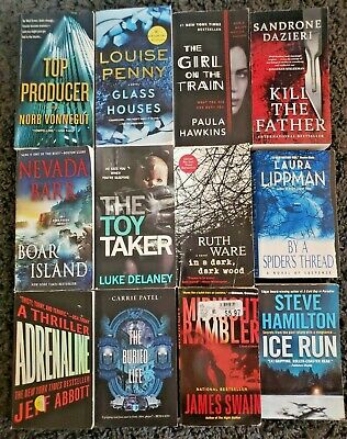 Paperback Book Lot Of 12 Mystery Thriller Suspense Mix Novels Free Shipping L5