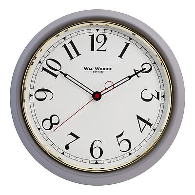 Grey Round Metal Wall Clock Off-White Face Arabic Dial 40 cm