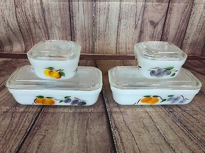 Fire King Gay Fad Fruit Refrigerator Dishes with Lids 8 pieces total Set Lot G54
