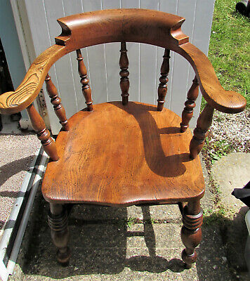 Antique Windsor Chair, Victorian Smokers Captains Bow Spindle Back, Carver Chair