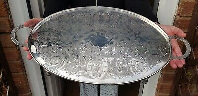 An Antique Silver Plated Chased Gallery Tray By Viners Of Sheffield.clawed legs.
