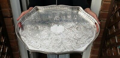 A Beautiful Antique Early 1900.s Silver Plated Gallery Tray.engraved patterns.