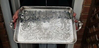 An Antique Early 1900.s Silver Plated Gallery Tray With Engraved Patterns.ornate