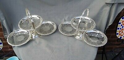 A Matching Pair Of Vintage Silver Plated Cake Stands with very elegant patterns.