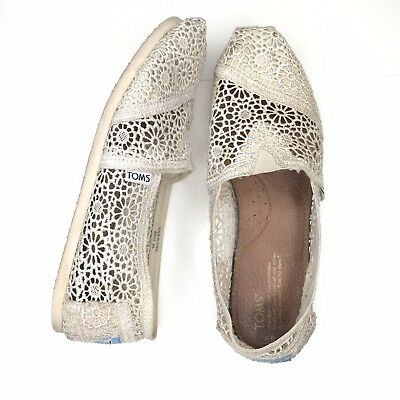 ecb20167920 Toms Classic Flats Moroccan Crochet Lace Slip On Shoes Off White Womens Size  9
