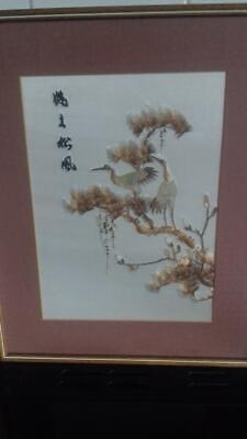 Beautiful vintage Chinese silk picture herons