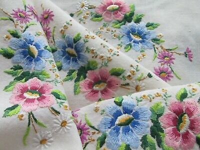 Vintage Hand Embroidered Irish Linen Tablecloth-BEAUTIFUL FLORAL'S