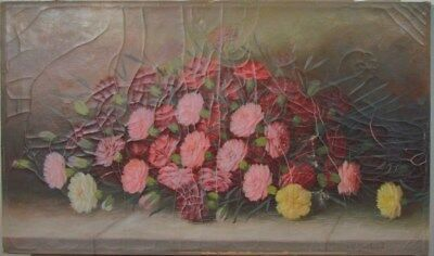"""Antique 19th Century """"Still Life With Flowers"""" Carnations Oil Painting M Garland"""
