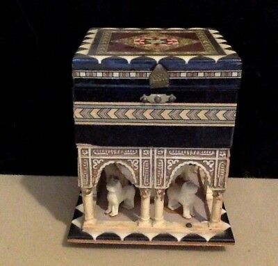 Vintage Footed Wood & Hard Plastic Music Box. Inlaid. Palace Like With Lions.
