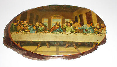 "THE LAST SUPPER Vintage Print on Genuine Log Slice 11"" Da Vinci Jesus Christ"