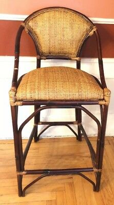 Vintage Bamboo Bentwood Basketweave Stool French Bistro Chair Padded Seat & Back