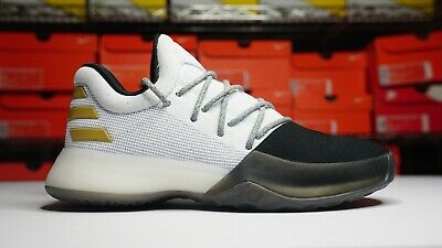 542139bfae9e Adidas James Harden Vol 1 White Black Gold BY3481 Basketball Shoes Size 4Y