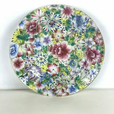 Antique Chinese Hand Painted 1000 Flowers Millefiori Plate Signed #5
