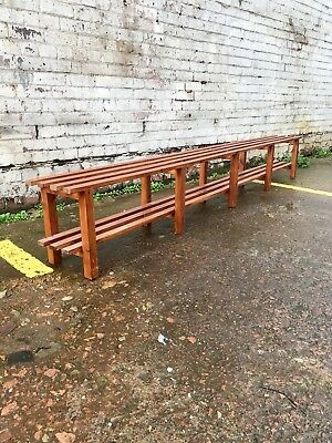 Vtg Mid Century 70's 80's Changing/Locker/Room Dining Bench Slatted Pine Storage