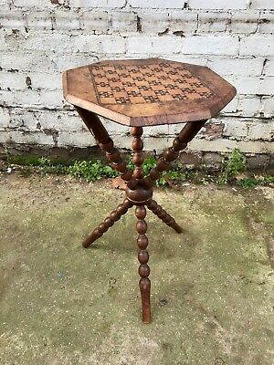 Antique Victorian Gypsy Chess Board Inlay Burr Walnut Side Table Bobbin Legs